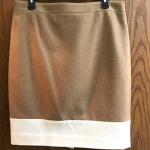 J Crew tan/cream wool pencil skirt SZ 12 EUC